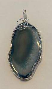 Agate-Lt Blue -Sterling Silver Wrap T62 $46.00