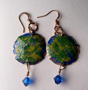 Copper earring/crystal E403 $30.00