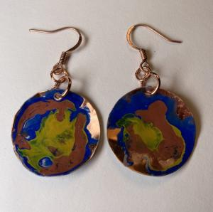 Copper earring/patina E404 $28.00