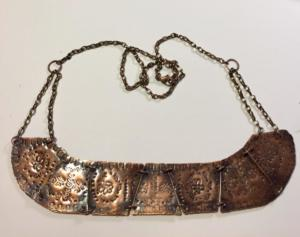 Copper Necklace- hand formed, design tapped, antiqued. $80