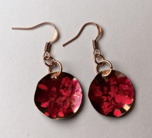 Copper earring/acrylic paint E406 $25.00