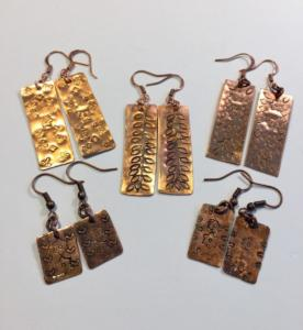 Copper earrings - etched