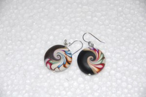 Polymer clay earring, round #309