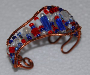 Copper wire Cuff bracelet-beaded with red ,white, blue glass beads