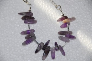 Amethyst teeth semi precious beads