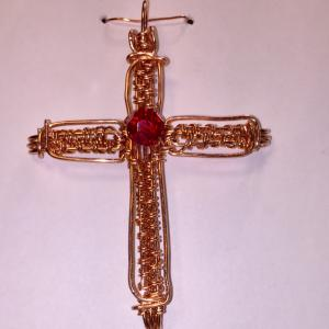 Copper wire weave cross with Swarovski 8mm bead