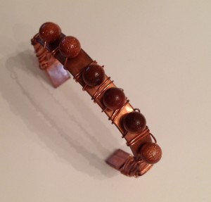 "Copper cuff, 3/8"" wide copper wrap with beads"
