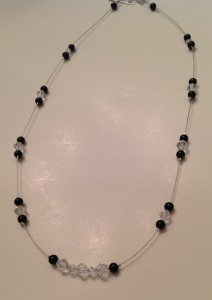 Swarovski 6mm and 4mm white clear crystals, black glass pearls