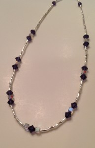 Swarovski deep purple 6mm, square white crystals.