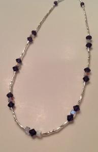 Swarovski deep purple 6mm, square white crystals.