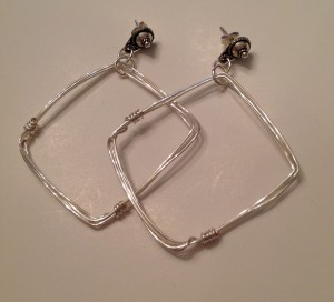Square Hoop Wire earrings -hand formed #653