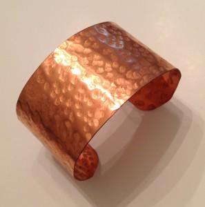 """Copper Cuff Bracelet 1 1/2 """" wide, hammered"""