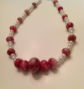 Dyed Agate and pink glass pearls