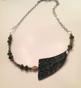 Green Patina Arrow, green beads, metal accents, chain