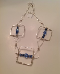 Hand formed Metal wire squares and links, blue beads