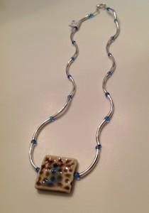 Ceramic Square, noodle beads, blue cyrstals