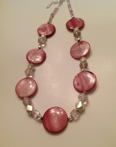 Mother of Pearl light Amethyst shell beads and pink glass