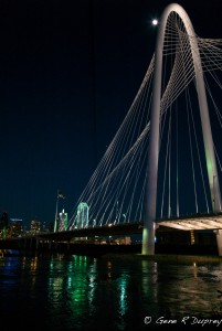 Moon over Martha Hill Bridge, Dallas,TX.