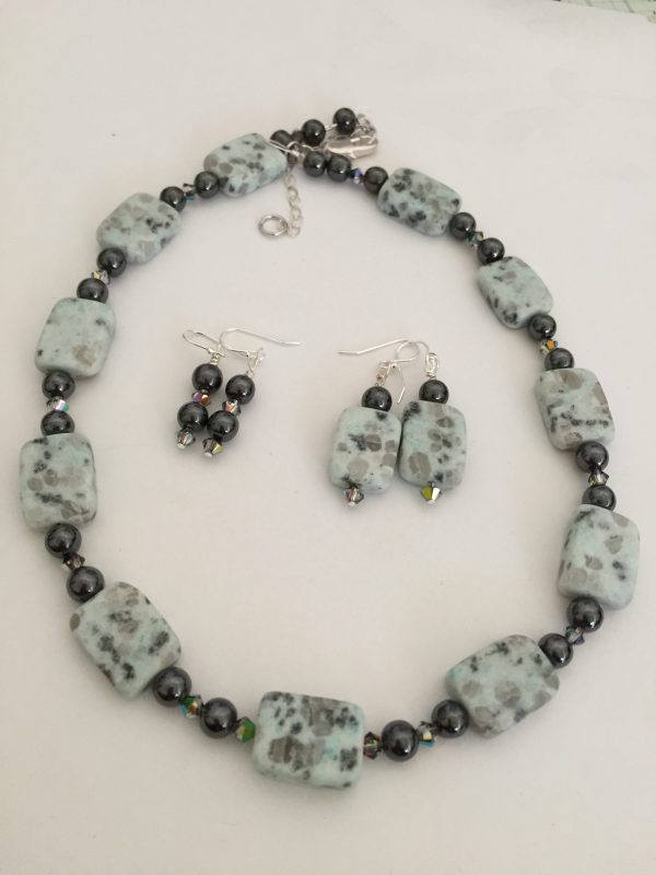 Sesame Jasper/Hematite & Swarovski crystals