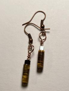 Tigereye & hematite earrings E409 $12.00