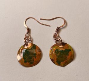 Copper earring/patina E407 $25.00