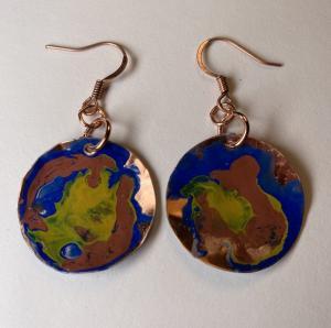 Copper earring/patina E404 $28.00