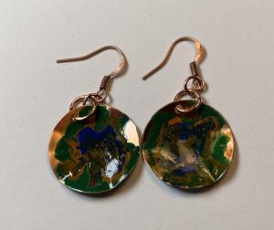 Copper earring/patina E405 $26.00