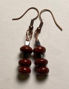 Red Jasper & hematite earrings E410 $15.00