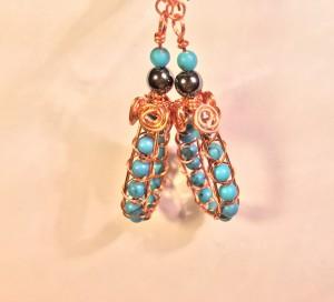 Turquoise & hematite copper wire