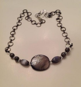 Gray Mother of Pearl and cats eye beads