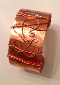 "Copper Cuff 1 1/2 "" wide, hammered with free form scroll wrap"