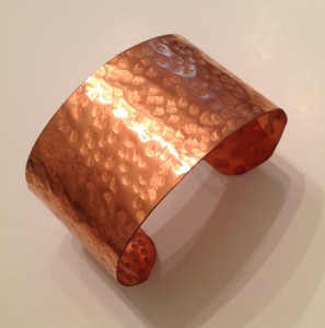 "Copper Cuff Bracelet 1 1/2 "" wide, hammered"