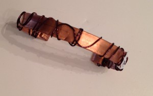 "Copper cuff bracelet, hammered, wrapped 3/8 "" wide"