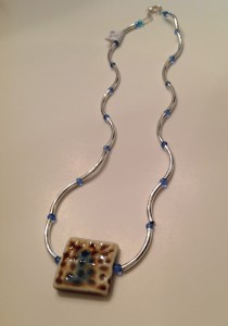 Ceramic Square, noodle beads, blue cyrstals